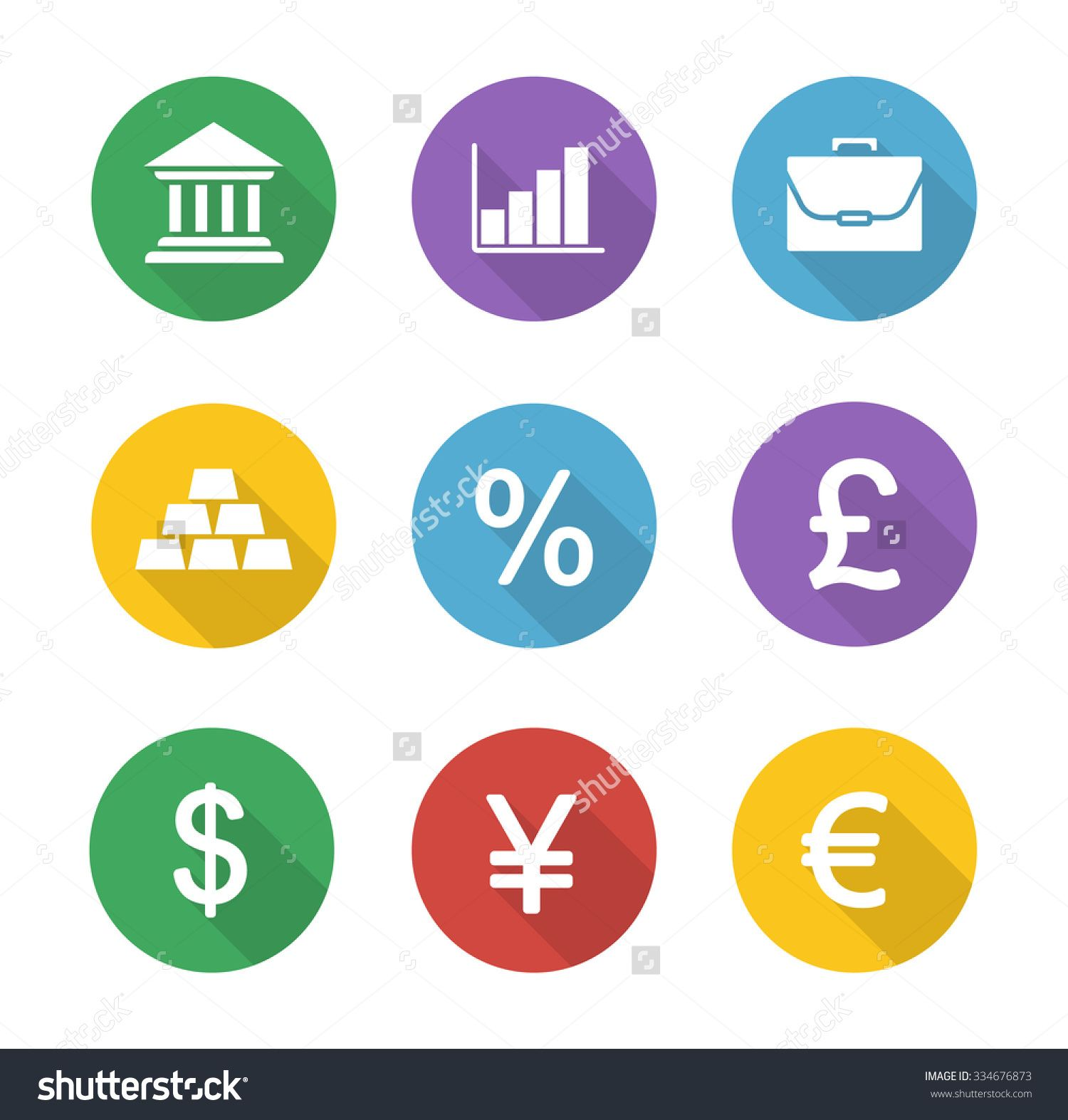 Finance flat design google search badge for finance finance and banking icons vector graphics finance and banking flat design icons set trading and stock market long shadow circle symbols biocorpaavc Gallery