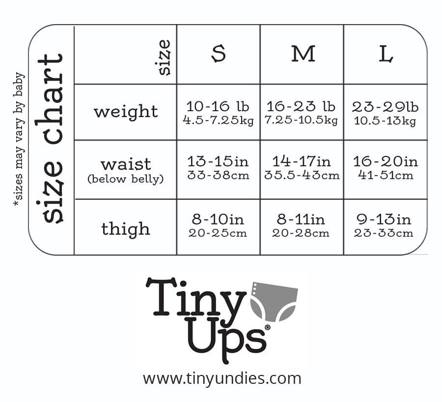 TinyUps Cloth Pull-up Covers - Size Chart