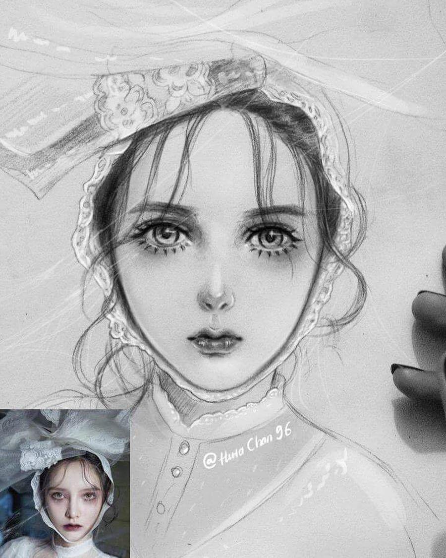 Semi Realistic Illustration Drawing Art Semirealistic Pencil Line Cosplay Seni Gambar Realistis Seni Inspirasi