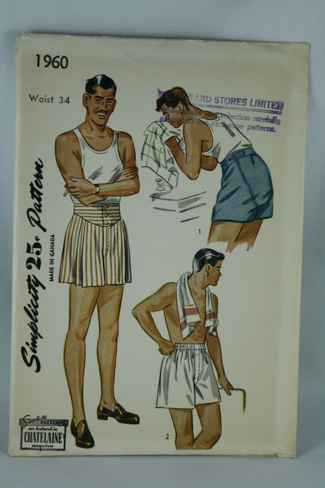Vtg 30s Simplicity Sewing Pattern 1960 Mens Shorts Waist 34