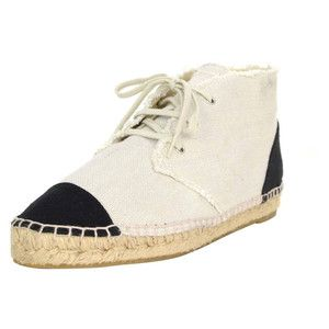 Preowned Chanel Beige & Navy Canvas Espadrille High-top Sneakers Sz 40