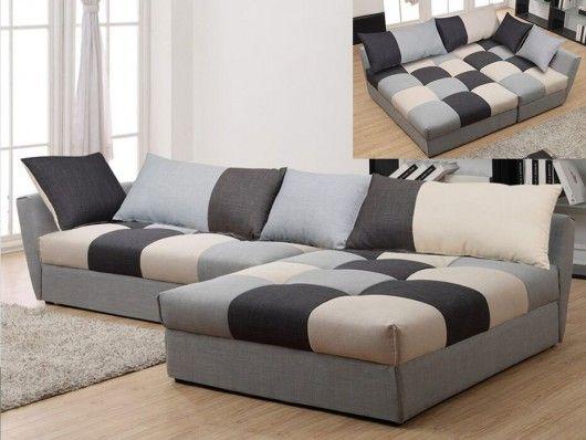 Canapé d angle en tissu convertible ROMANE Gris Angle droit