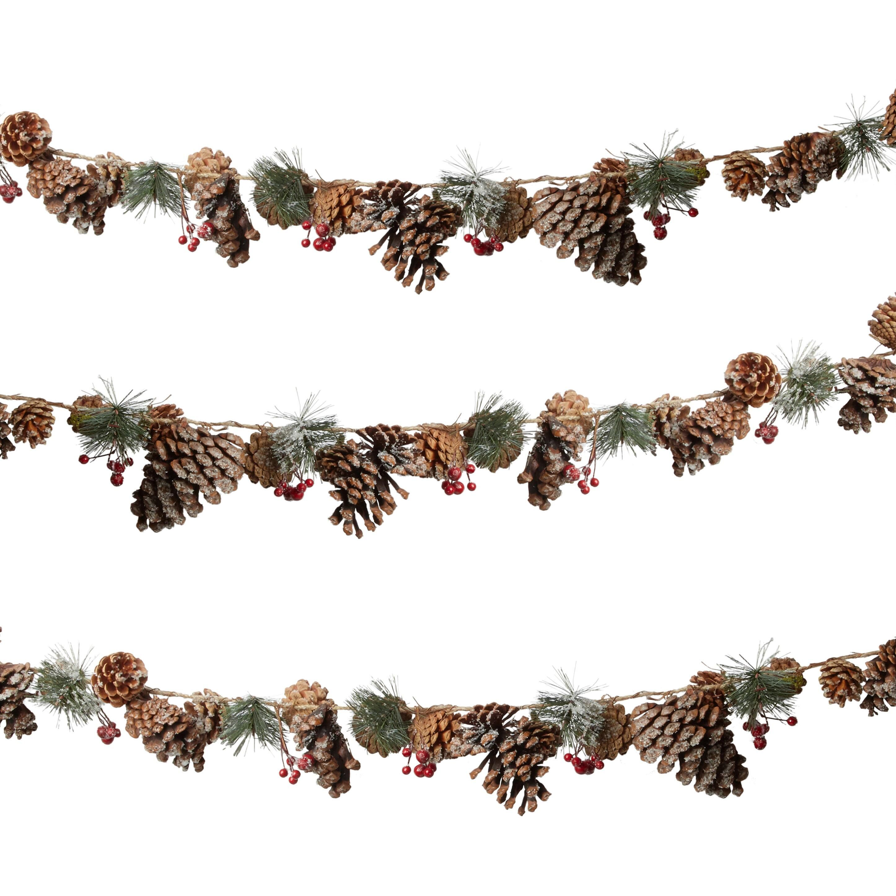 6a 20snowy Pinecone And Red Berry Garland Pinecone Snowy Garland Christmas Tree Shop Berry Garland Christmas Garland