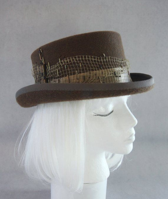 a800813063ba Steampunk Top Hat. Brown Fur Felt Hat with Antique Gold Metal Mesh. Hand  Beaded Couture Millinery. B