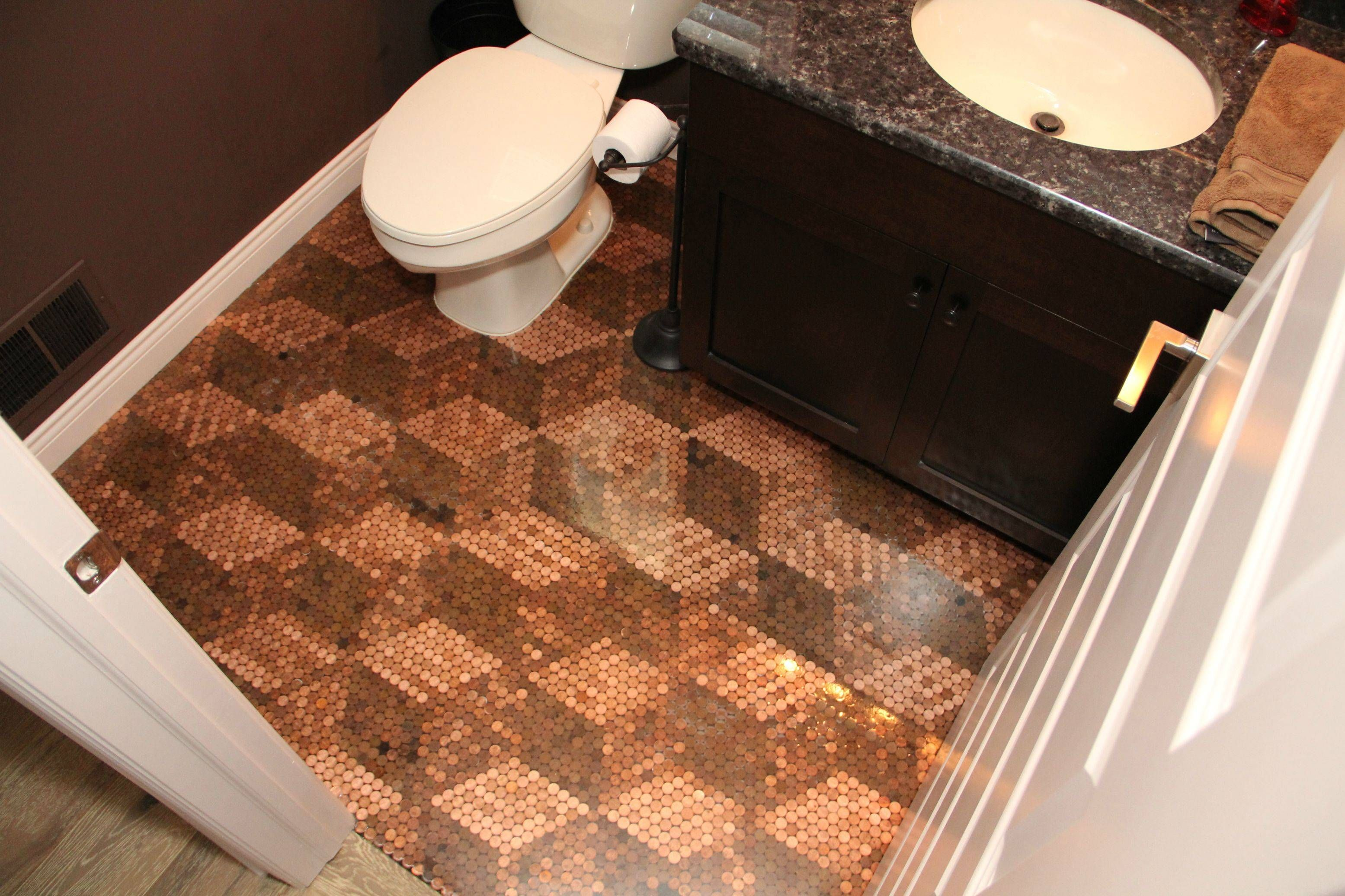 Here Is The Final Penny Floor Update We Finished The Bathroom And The House Now That We Re All Settled In Penny Floor Penny Floor Designs Unusual Bathrooms