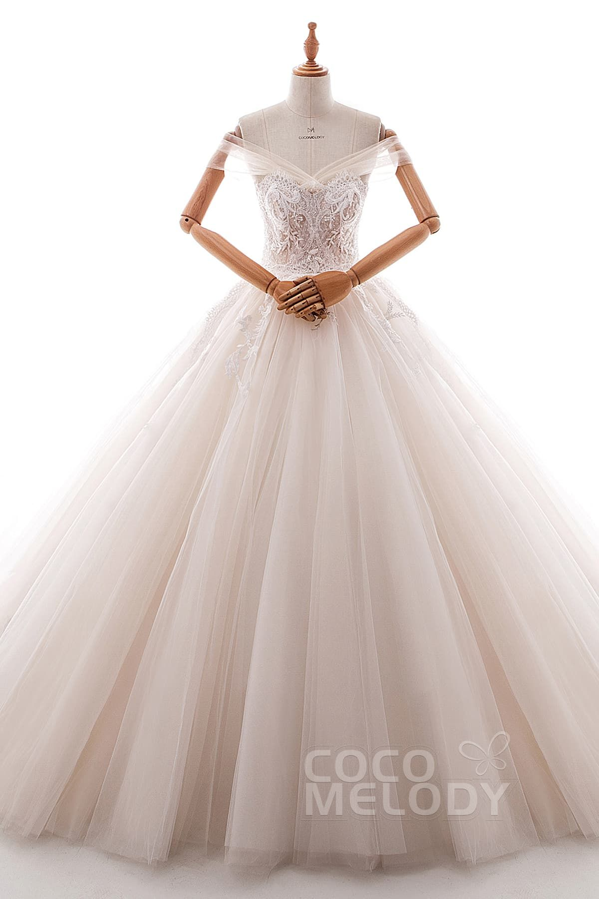 Champagne and ivory wedding dress  Princess Court Train Satin and Tulle Wedding Dress LD  Corset