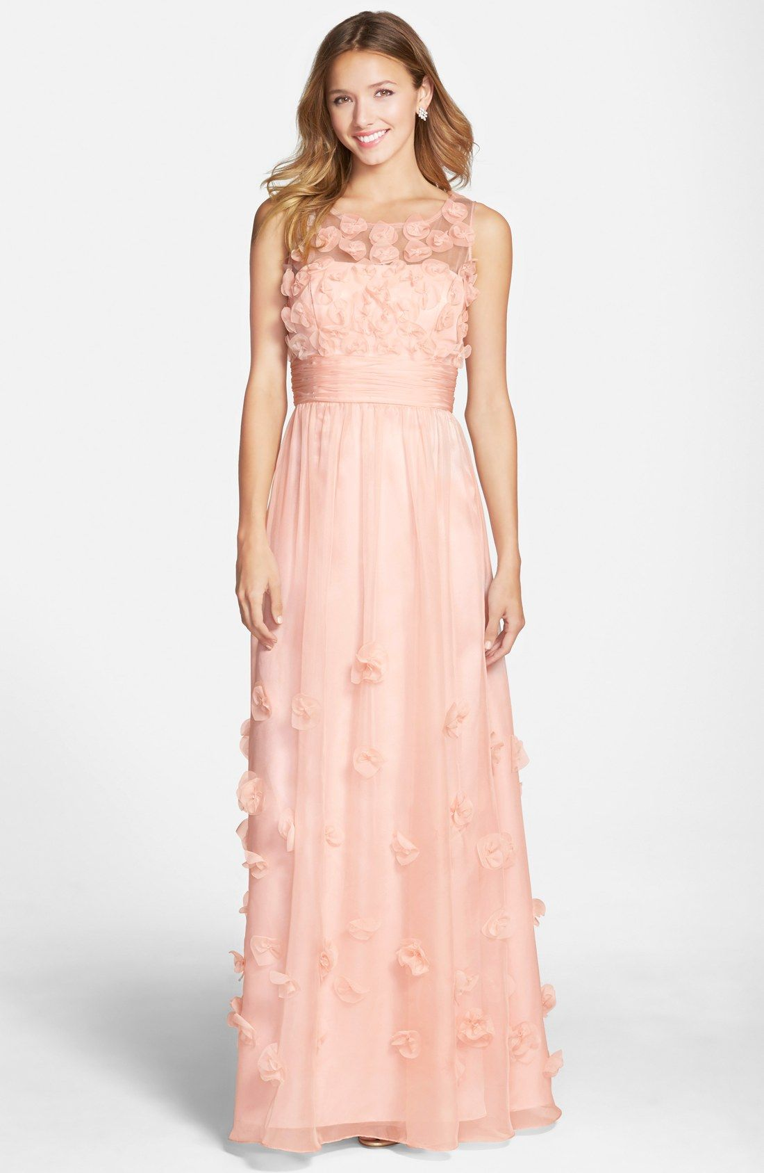 Js collections floral appliqué chiffon gown fashion pinterest