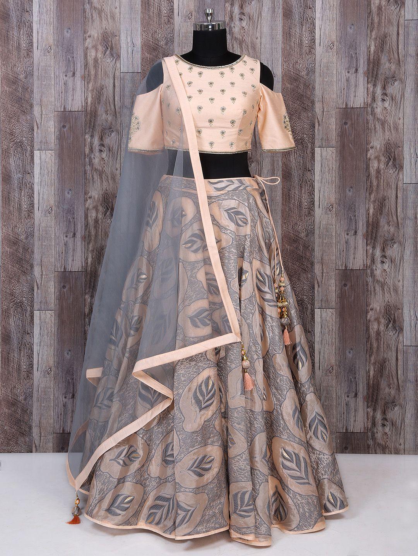 8b5e5833ac Peach And Grey Color Silk Lehenga Choli For Party Function, designer,  wedding lehenga,