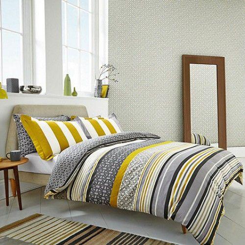 Scion Lace Stripe Duvet Cover Set Bed Linens Luxury Home Bedroom Decor