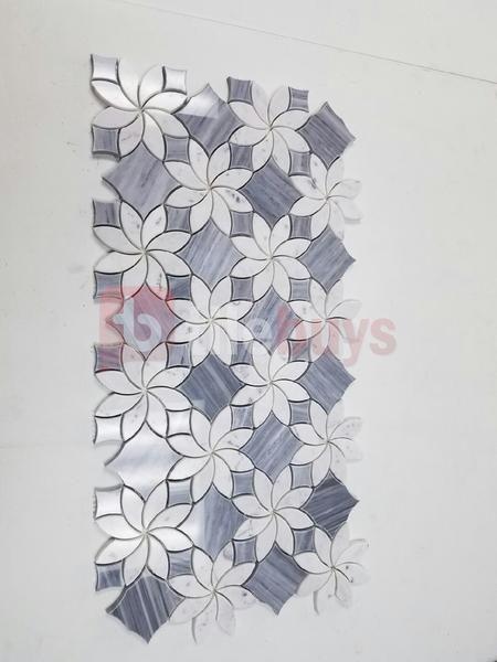 Blumenmuster Bardiglio Grey und Carrara White Marble Waterjet Mosaic Tile