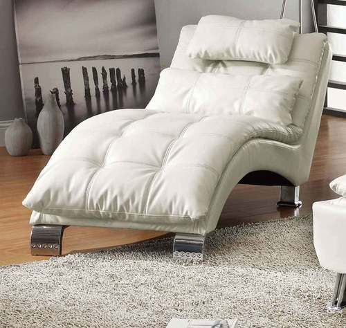 White Leatherette U0026 Chrome Pillowtop Chaise Lounge 550078