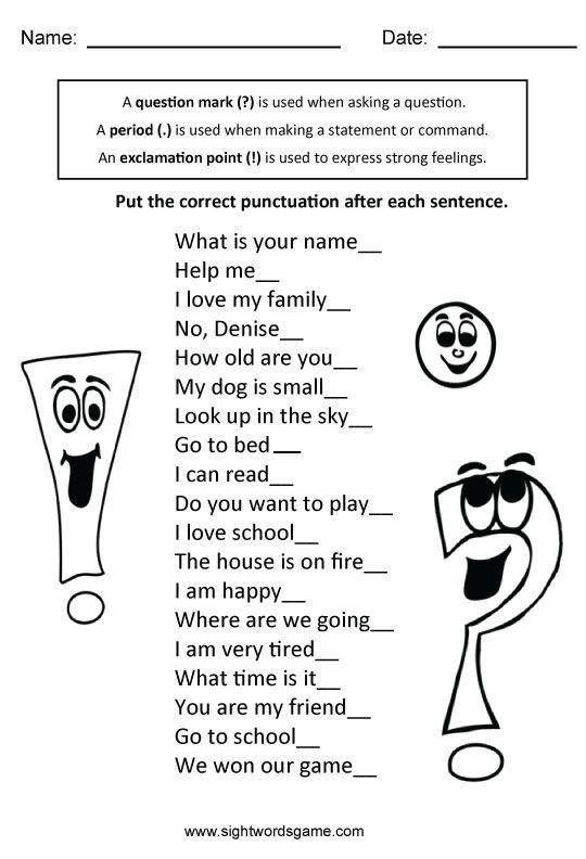 kinds of sentences activities