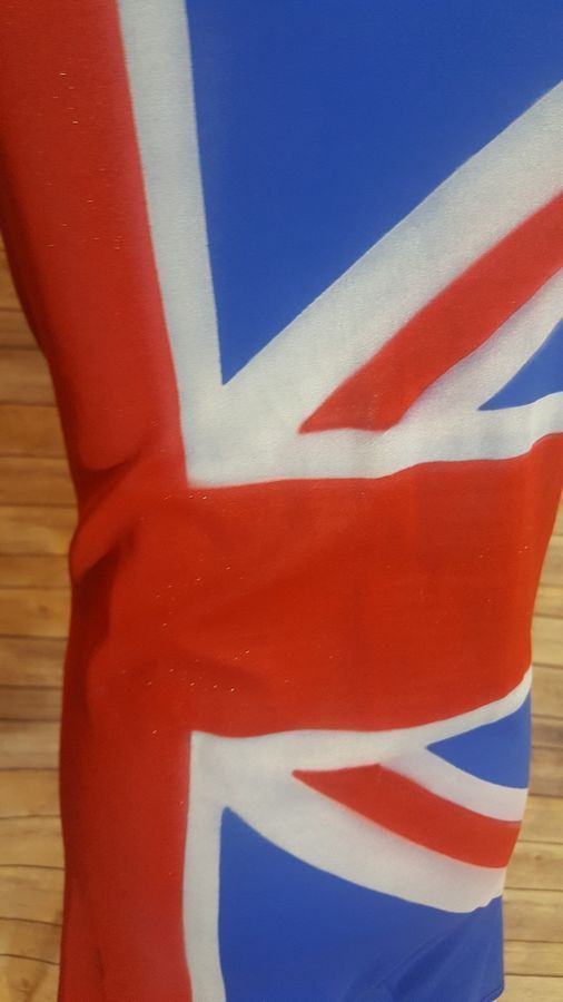 UNION JACK Spice Girl COSTUME Airbrushed Unitard Cosplay Adult S World Cup Fever...