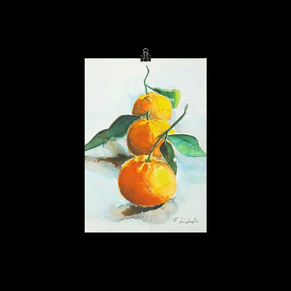 Tangerine print poster original watercolor still life orange print clementine print for kitchen citrus wall art watercolor fruit painting.