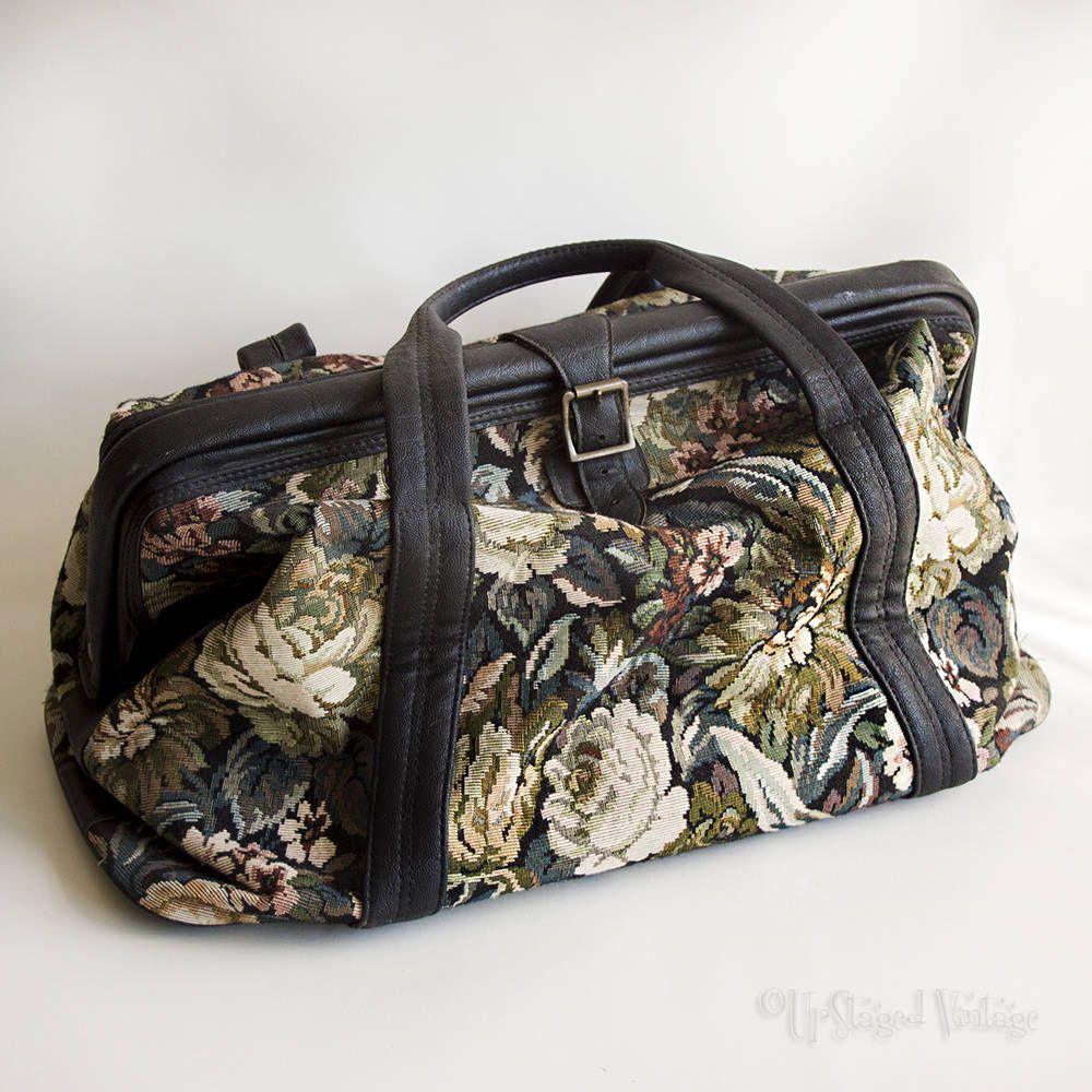 Vintage Green Black Floral St Michael Tapestry Carpet Bag