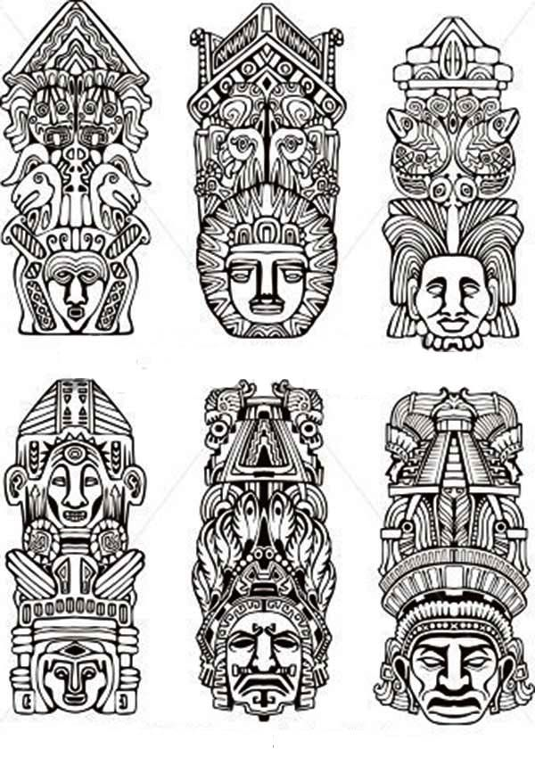Various Indian Tribe Totem Poles Coloring Page
