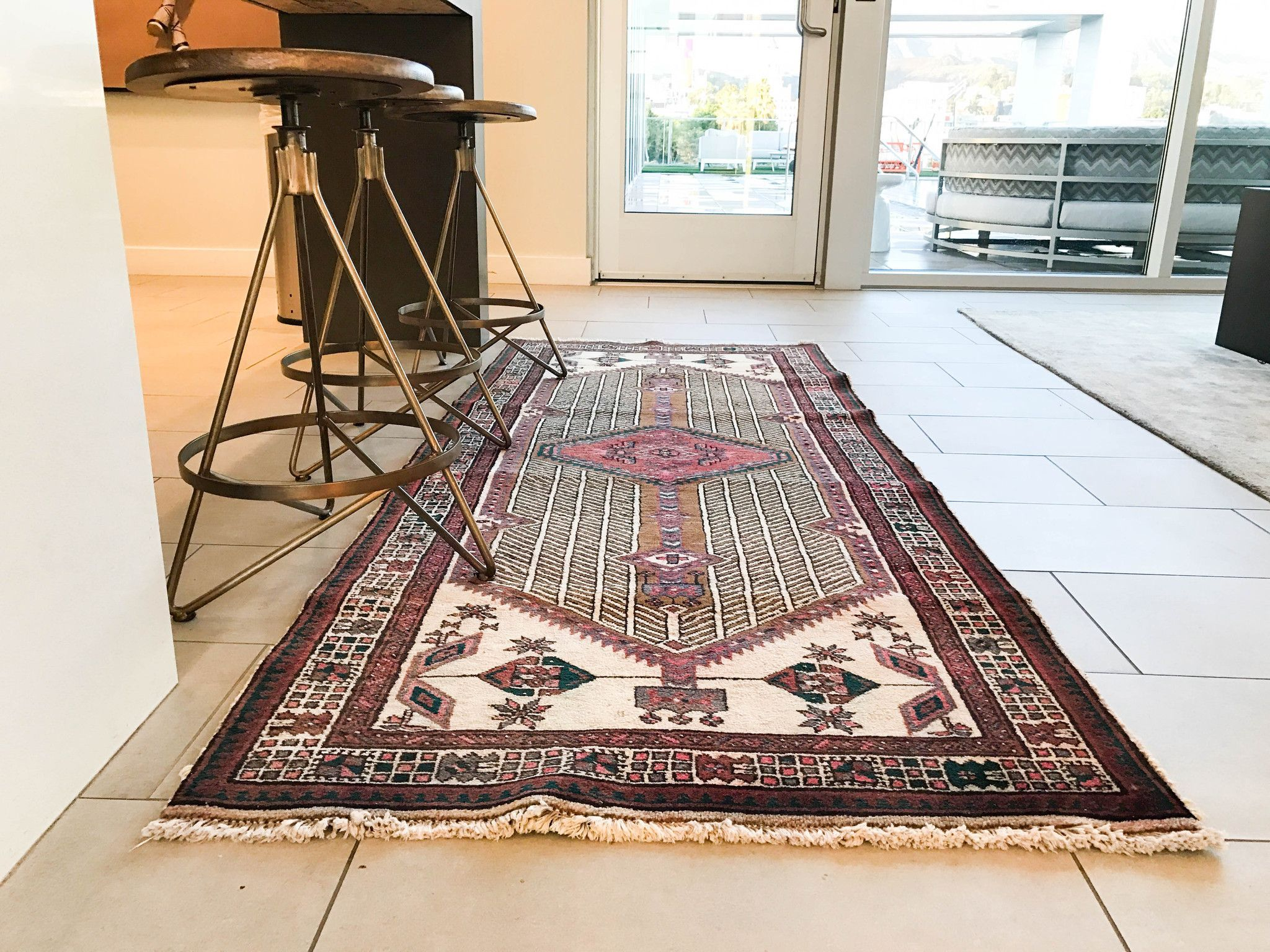 3'0X7'7 Vintage Persian Heriz Hallway Rug Runner Rug Kitchen Alluring Kitchen Runner Rugs Design Inspiration