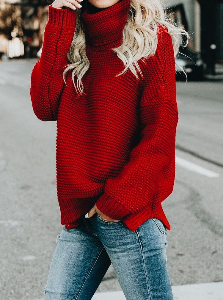 d4fe55a31f Red knit    turtleneck sweater    winte casual style
