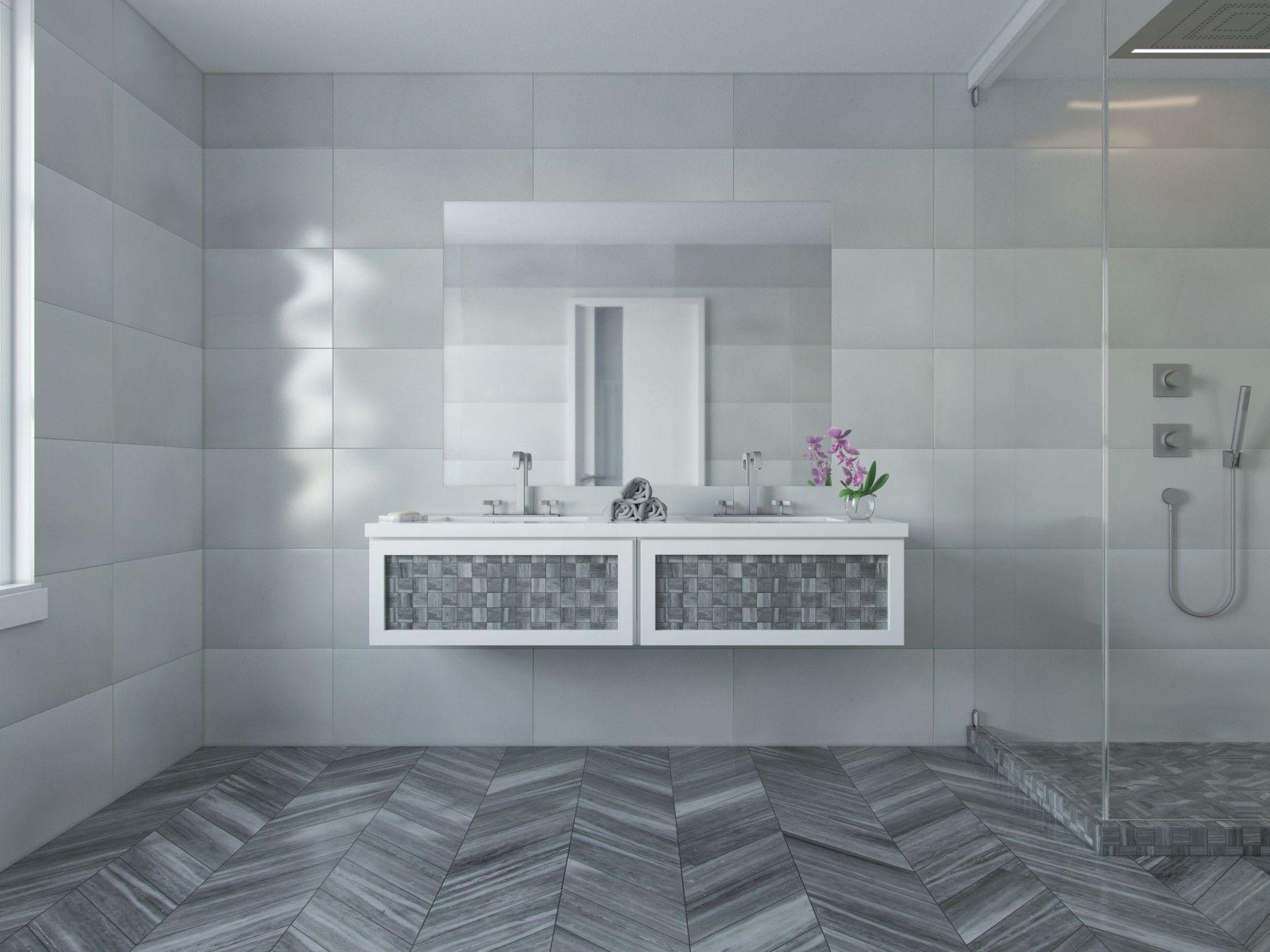 Milan Gray Chevron Marble Tile #gray #tile #marble #chevron Pleasing Flooring For Bathrooms Inspiration Design