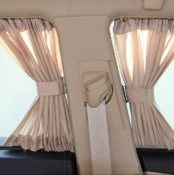 70x49cm Beige 70L Car Window Curtain Sunshade UV