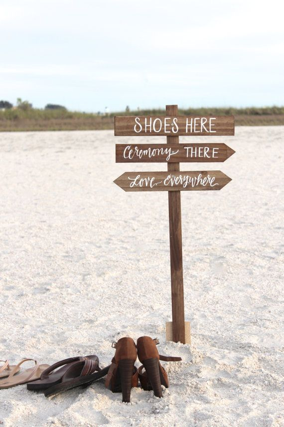 Shoes Here Vows There Love Everywhere Sign, 3 Piece Set, Rustic Wedding Signs, Beach Wedding Signs, Outdoor Directional Sign – N1