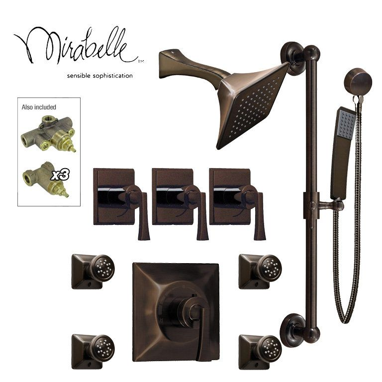 For The Mirabelle Sq Shhs4bs Orb Oil Rubbed Bronze Luxury Shower System Includes Head Hand 4 Body Sprays And All Rough In Valves