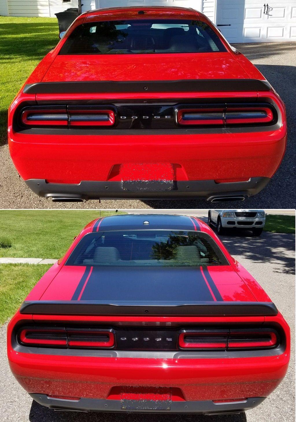 Satin black custom hood roof decklid wrap for a red dodge challenger