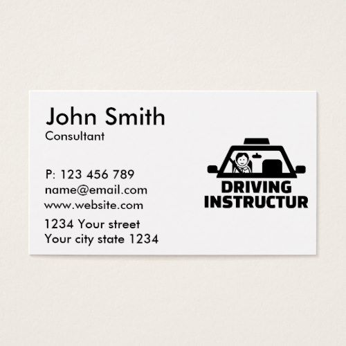 Driving Instructor Business Card Zazzle Com In 2021 Driving Instructor Business Card Design Business Cards