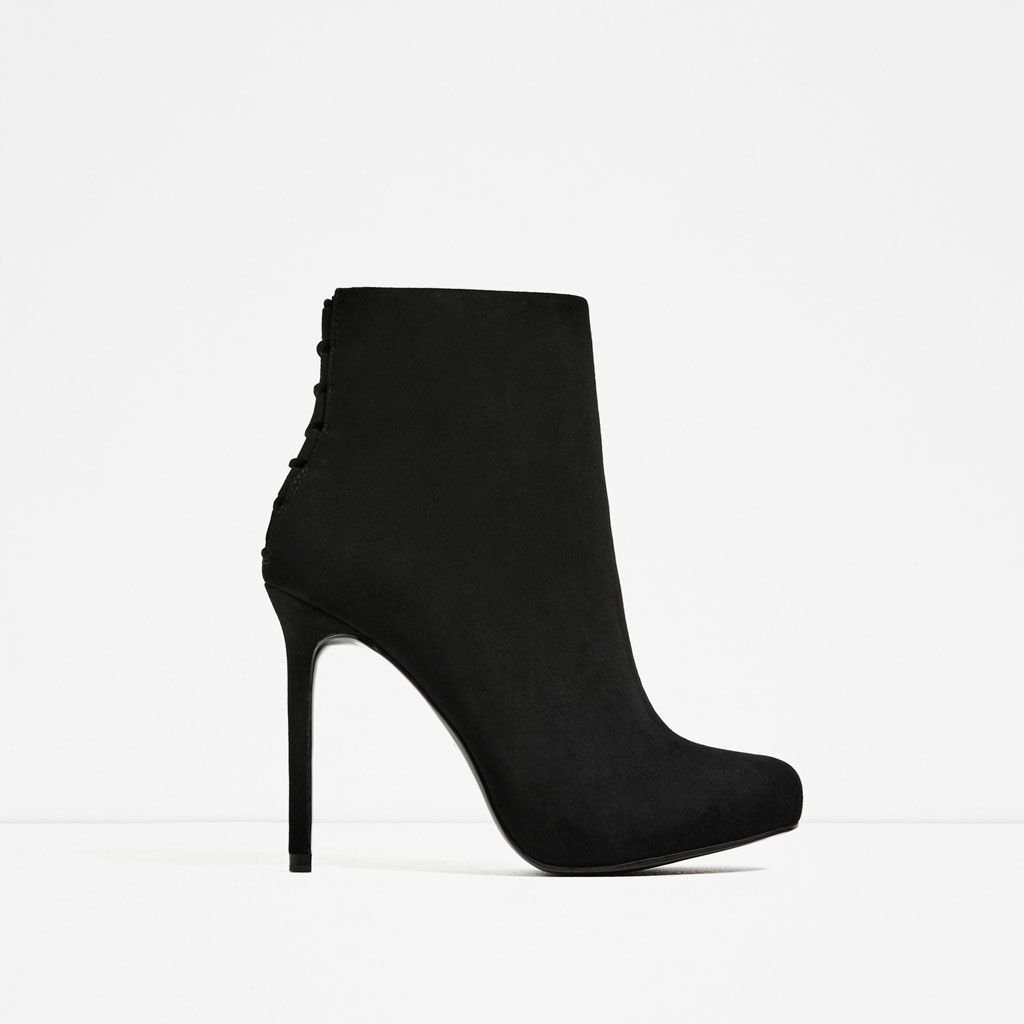 zara - femme - bottines À talon et lacets | mode | pinterest