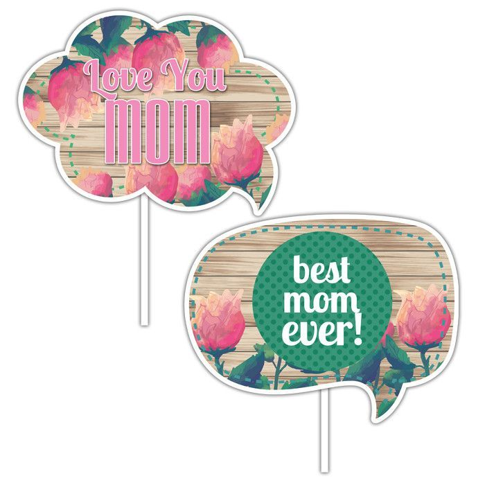 Mother's Day - Photo Booth Props - Wood Roses - 2 pack
