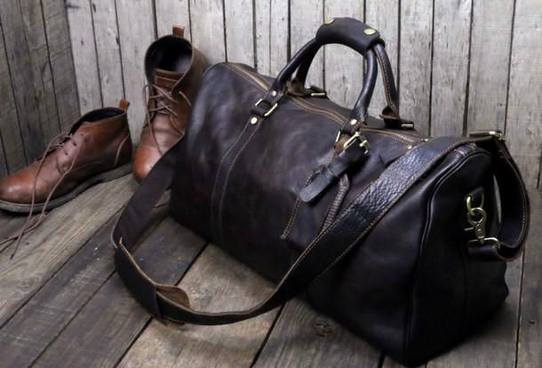 d7393981d Handmade leather men Travel Duffle Bag Laptop Weekender Bag Overnight
