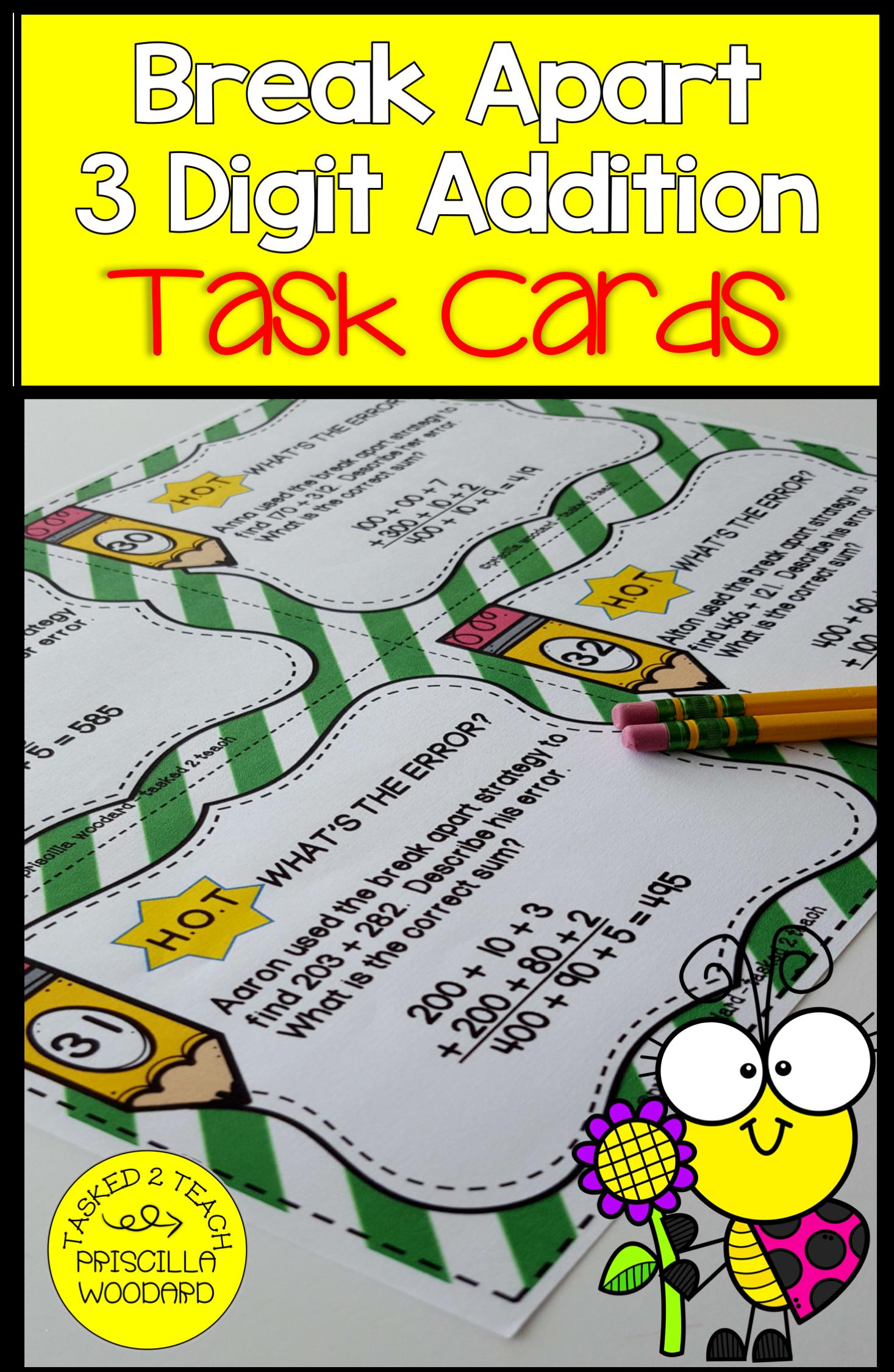 Break Apart 3 Digit Addition Task Cards 3rd Grade In