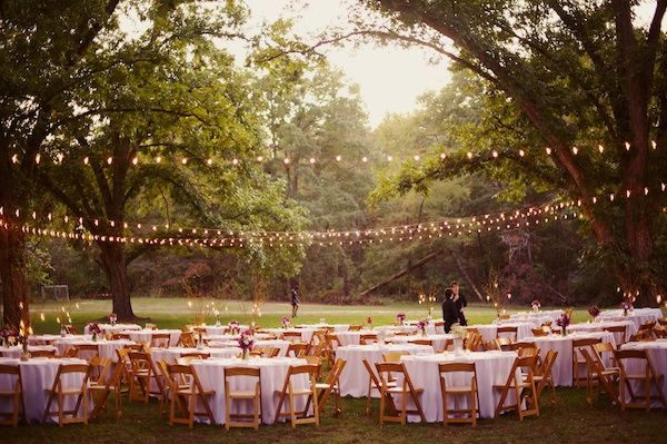 string lighting + outdoor reception | The Reason