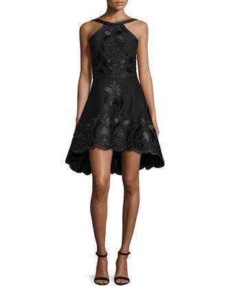 075fe4b12bea Valeria Sleeveless Embroidered A-Line Dress, Black at CUSP.   Little ...