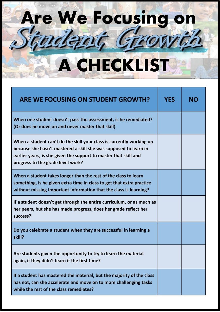 Are we focusing on student growth a checklist learning