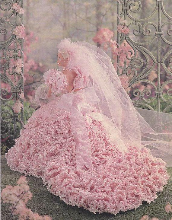 Barbie * šaty svatební růžové, háčkované ♥ #beddollsandcrocheted1112sizedolldresses