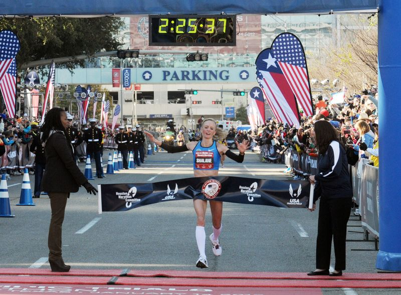 Shalane Flanagan - Winner of the 2012 U.S. Olympic Trials for the Marathon (26.2 miles) in Houston with 2hrs, 25 mins.  BAD ASS.