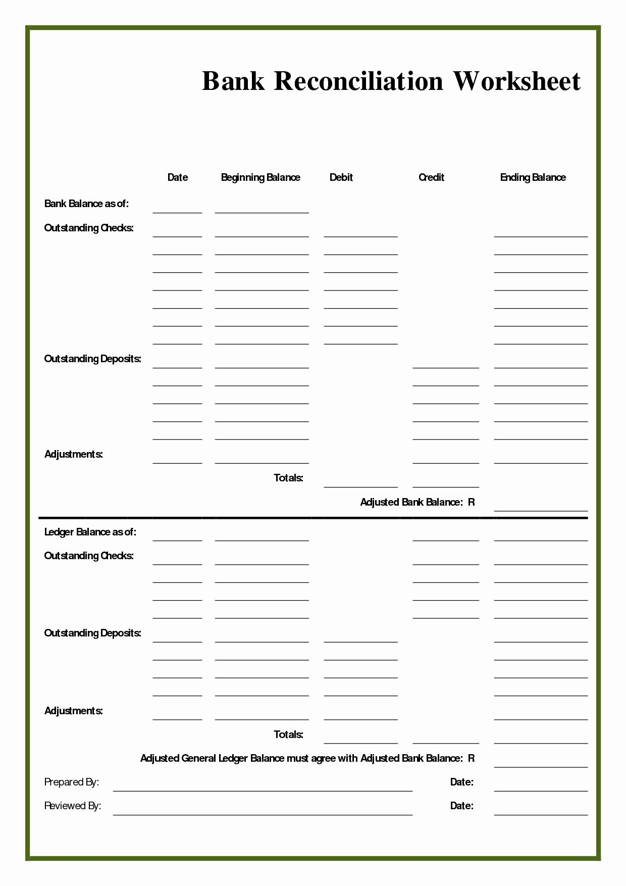 Bank Statement Reconciliation Template Inspirational Blank