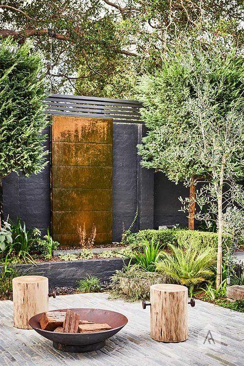 Adam Robinson Design Sydney, brass water feature, black exterior ...