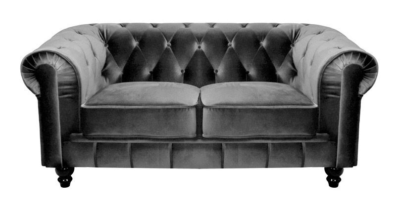 DECO IN PARIS - Canape 2 places velours gris chesterfield can ...