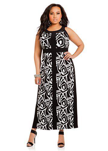 3bdfee56c53 Ashley Stewart Women s Plus Size Geometric Panel Maxi Dress Black White 16  Ashley Stewart to