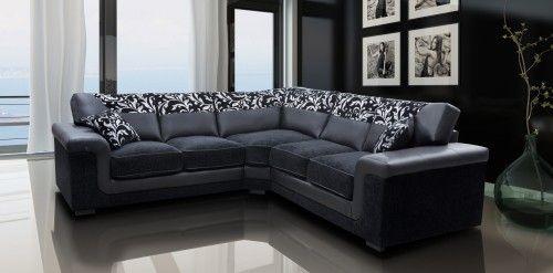 Very Stylish And Comfortable Harmony Corner Sofa In Black Faux