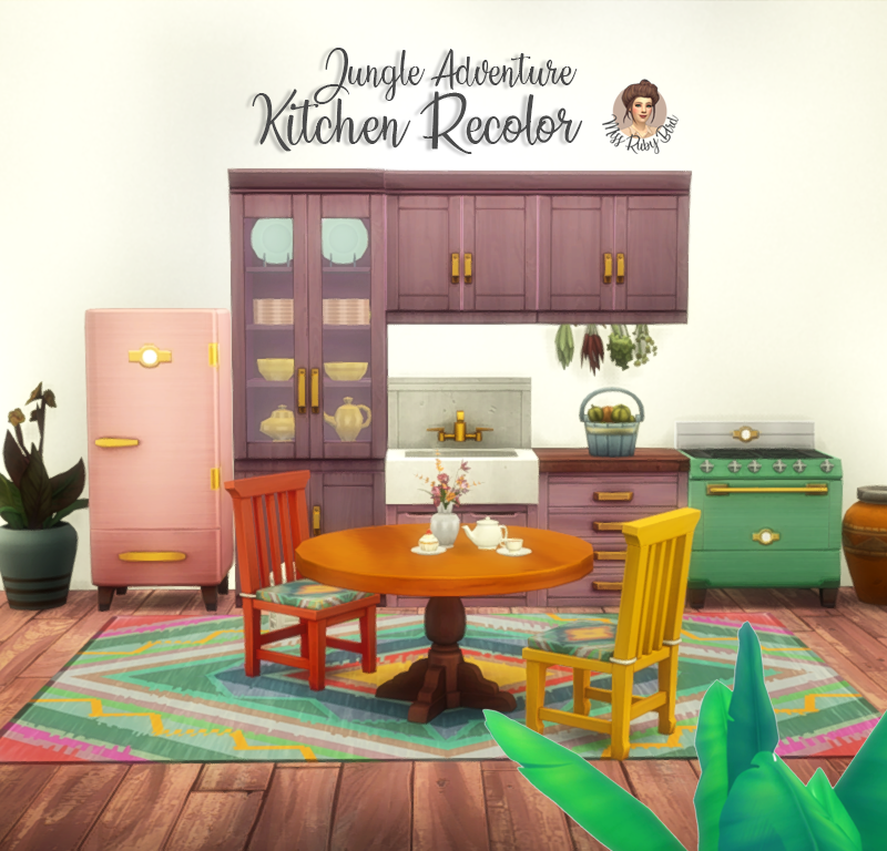 Jungle Adventure Kitchen Recolor Hey lovelies Sims