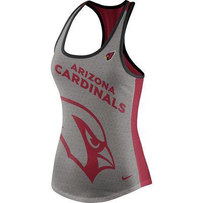 Women's Nike Gray/Cardinal Arizona Cardinals Touchdown Tri-Blend Performance Tank Top