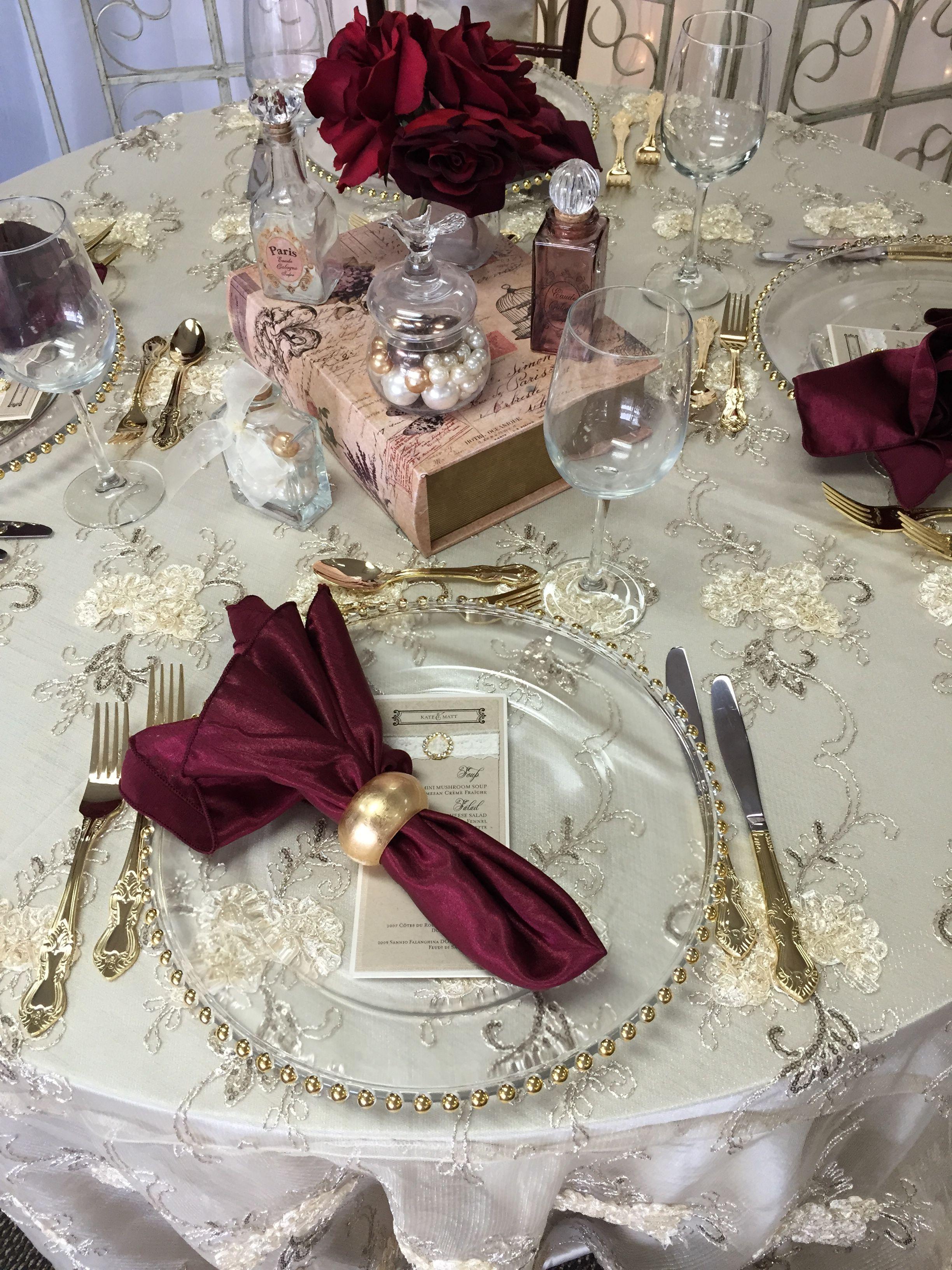 Ivory, Gold, and Burgundy. yyceventrentals yycweddings