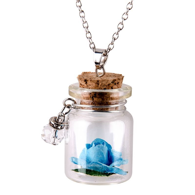 Glow-in-the-Dark-Flower-Glass-Tiny-Wishing-Bottle-Vial-Necklace-Pendant-Chain