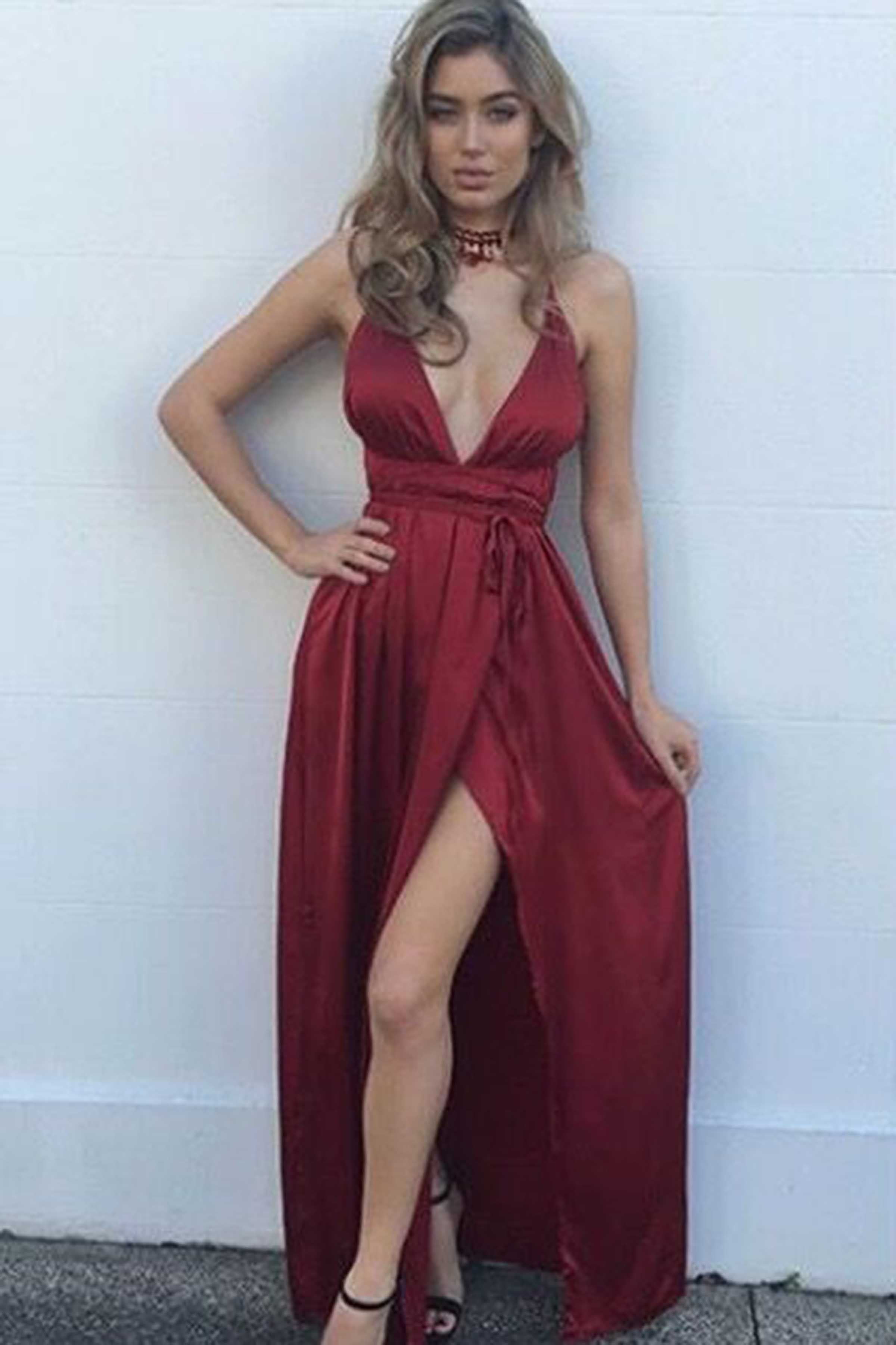Sexy red satins vneck slit long evening dressesprom dresses from