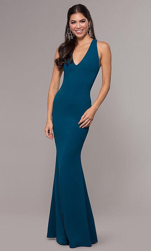 Mermaid-Style Long Prom Dress in Jersey Spandex ...