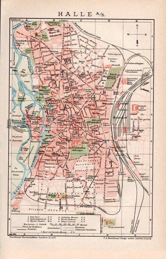 Halle Saale Karte.1898 Halle City Map Halle An Der Saale Southern Germany