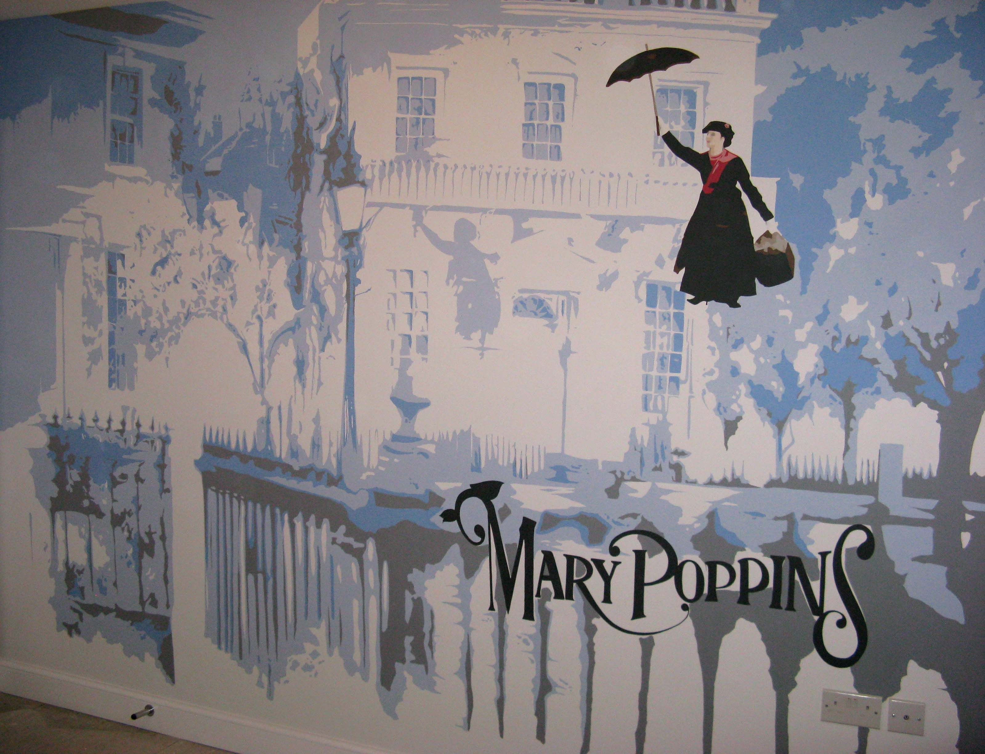 a mary poppins full feature wall mural hand painted by carren a mary poppins full feature wall mural hand painted by carren moulder